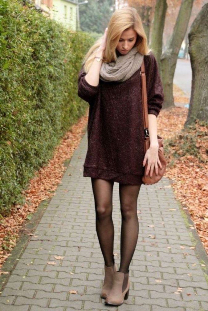 Sweater-dress-and-hose.-3-675x1011 140+ Lovely Women's Outfit Ideas for Winter 2020 / 2021