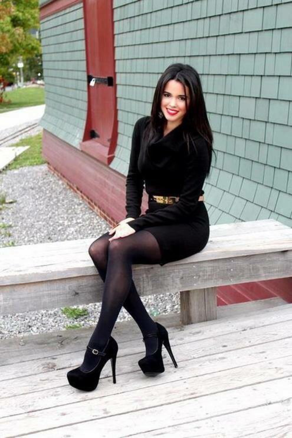 Sweater-dress-and-hose..-1 140+ Lovely Women's Outfit Ideas for Winter in 2021