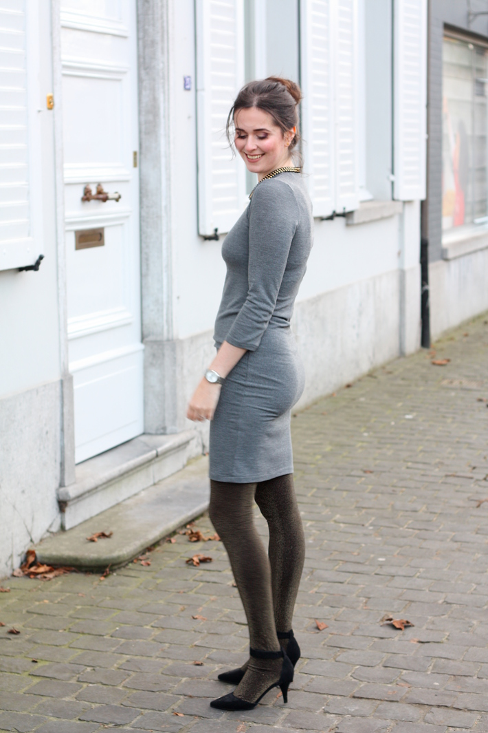 Sweater-dress-and-hose.. 140+ Lovely Women's Outfit Ideas for Winter in 2021