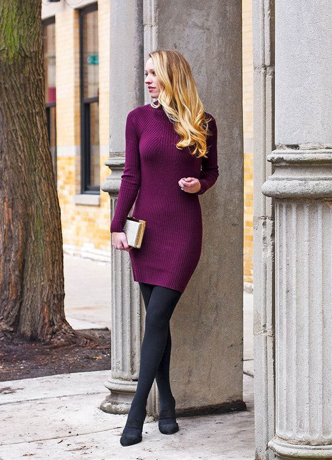 Sweater-dress-and-hose 140+ Lovely Women's Outfit Ideas for Winter 2020 / 2021