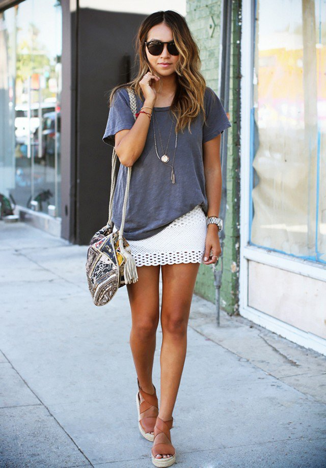 T-shirt-and-miniskirt..-1 140 First-Date Outfit Ideas That Make You Special