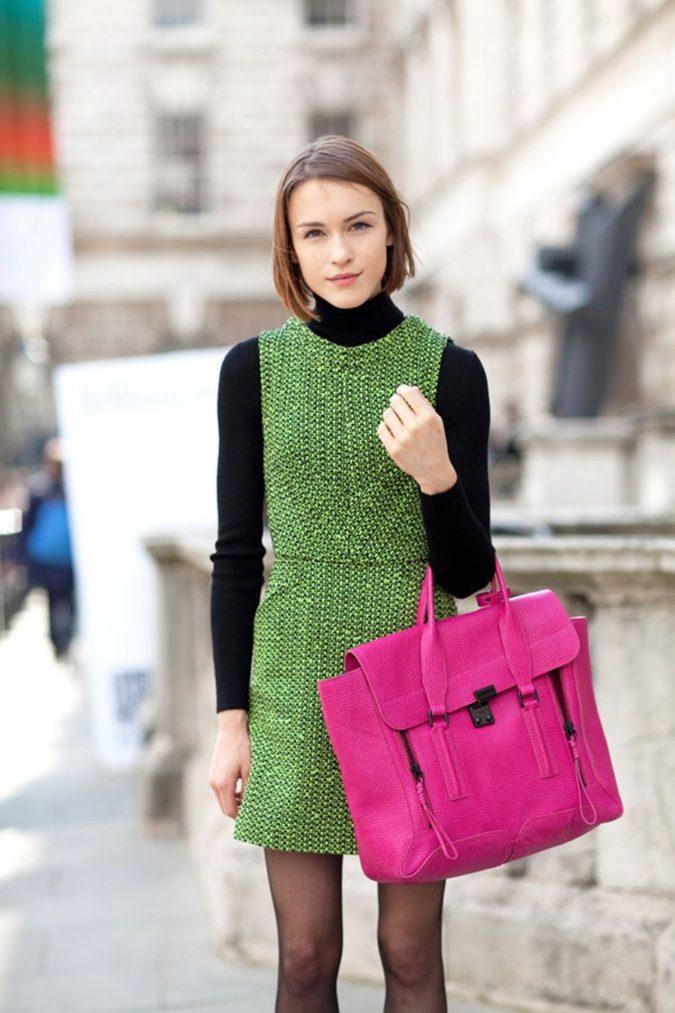 Turtlenecks-under-dress-675x1013 140+ Lovely Women's Outfit Ideas for Winter 2020 / 2021