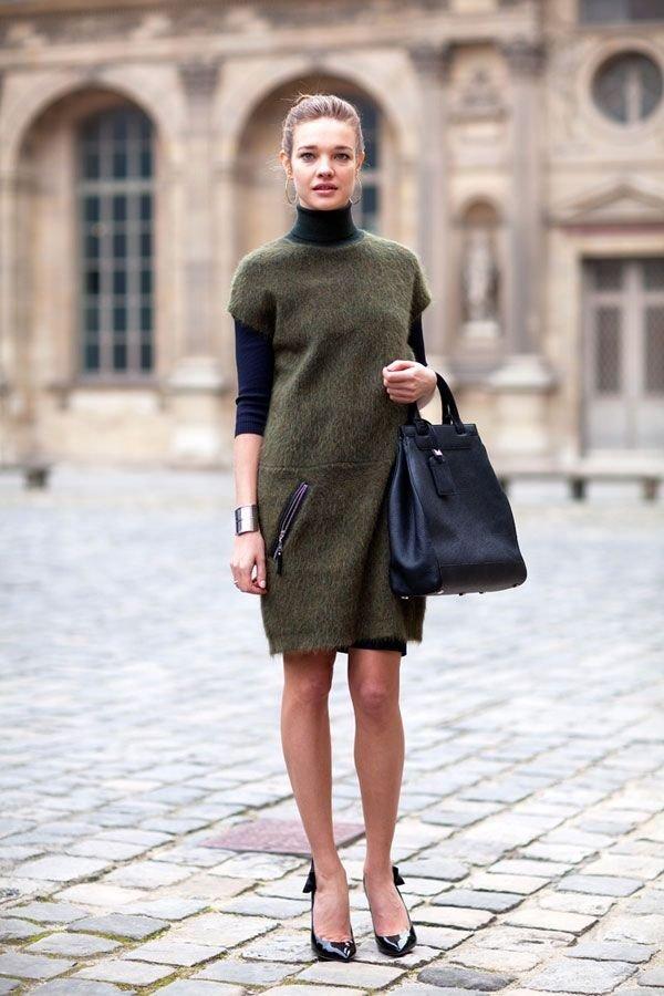 Turtlenecks-under-dress. 140+ Lovely Women's Outfit Ideas for Winter in 2021