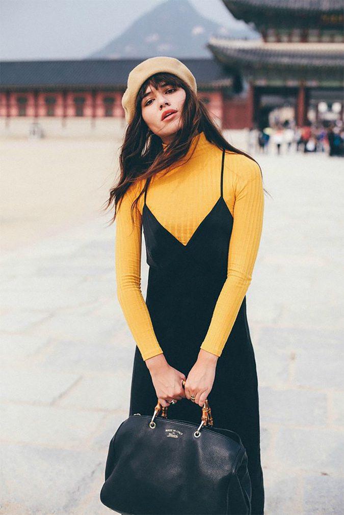 Turtlenecks-under-dresse-675x1012 140+ Lovely Women's Outfit Ideas for Winter in 2021