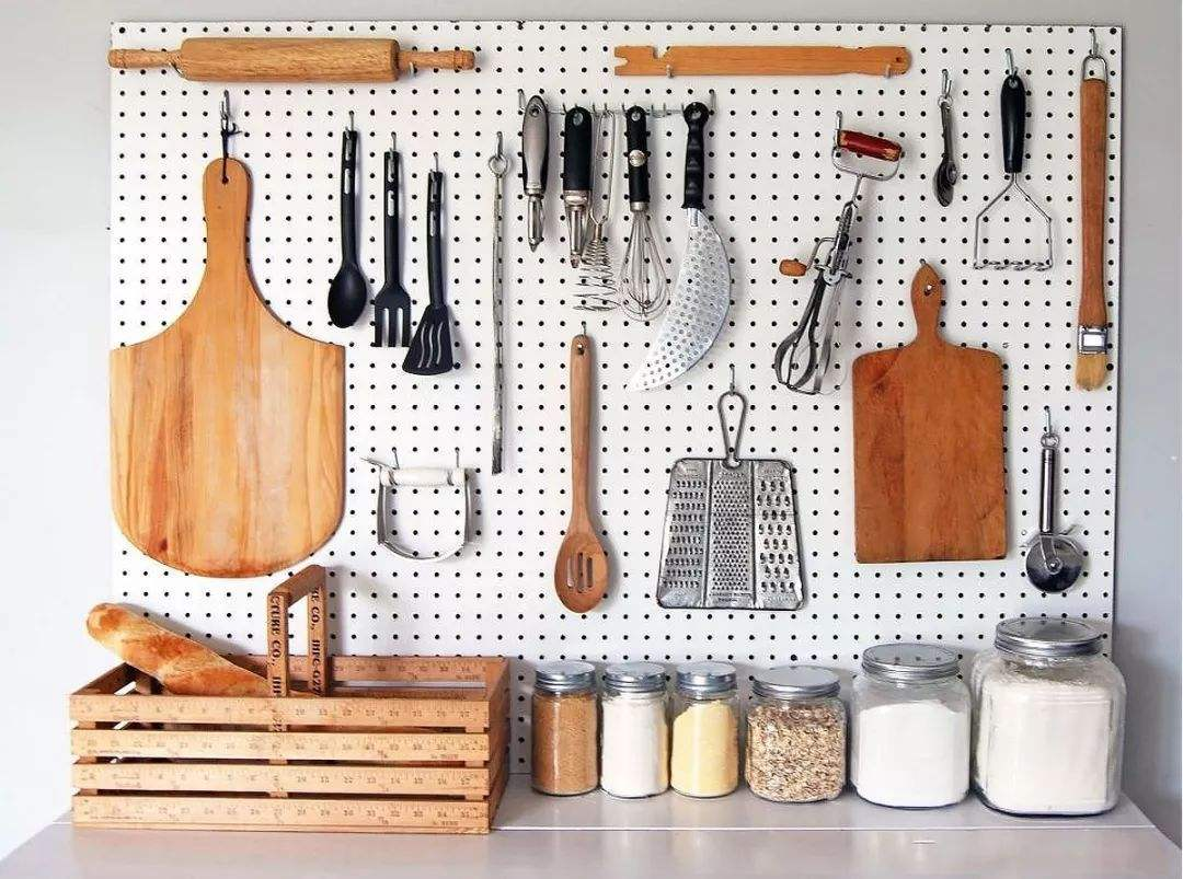 Using-a-peg-board-1 100+ Smartest Storage Ideas for Small Kitchens in 2021