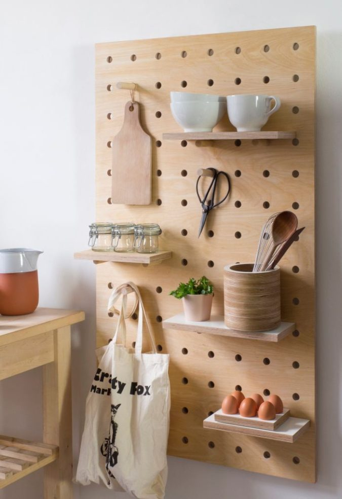 Using-a-peg-board-675x983 100+ Smartest Storage Ideas for Small Kitchens in 2021