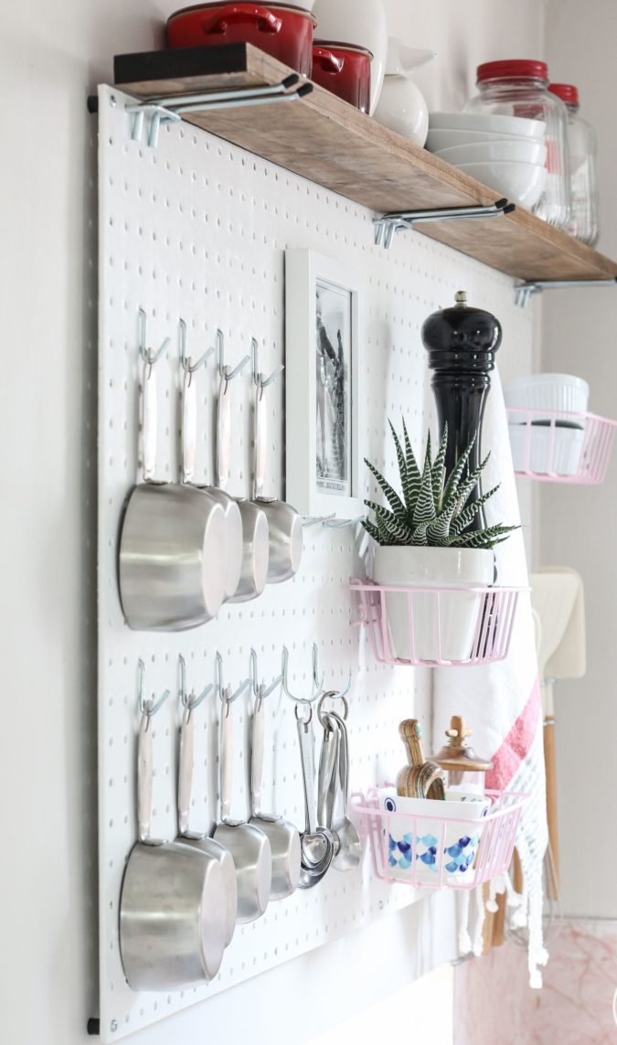 Using-a-peg-board.-1-675x1143 100+ Smartest Storage Ideas for Small Kitchens in 2021