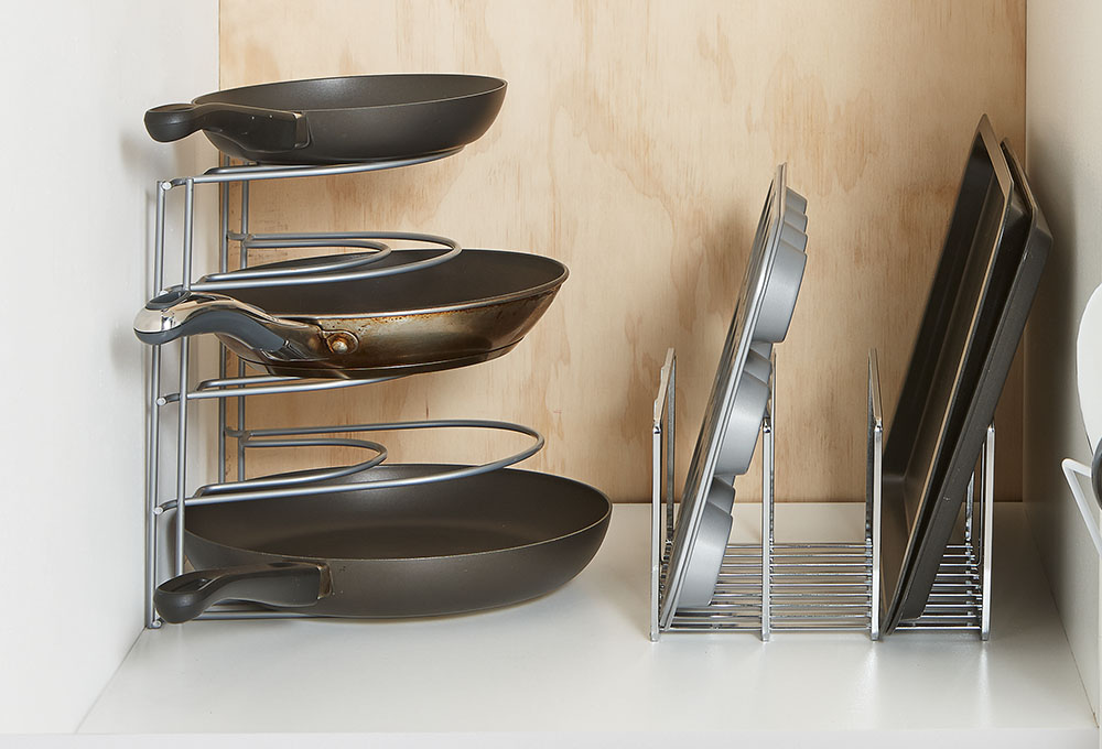 Using-expandable-cookware-organizer-1 100+ Smartest Storage Ideas for Small Kitchens in 2021