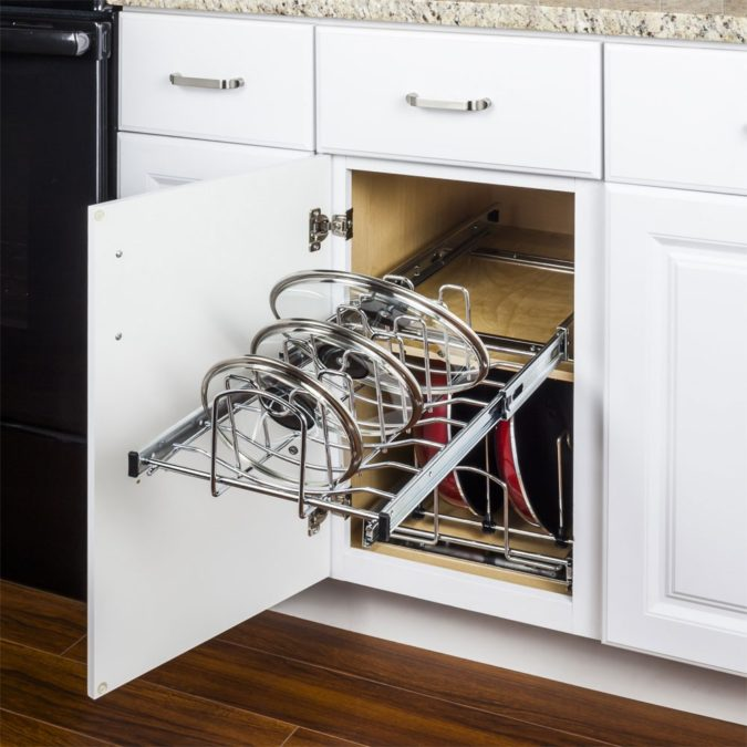 Using-expandable-cookware-organizer-675x675 100+ Smartest Storage Ideas for Small Kitchens in 2021