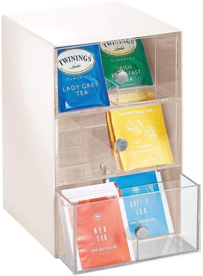 Using-tea-bag-organizer--675x919 100+ Smartest Storage Ideas for Small Kitchens in 2021