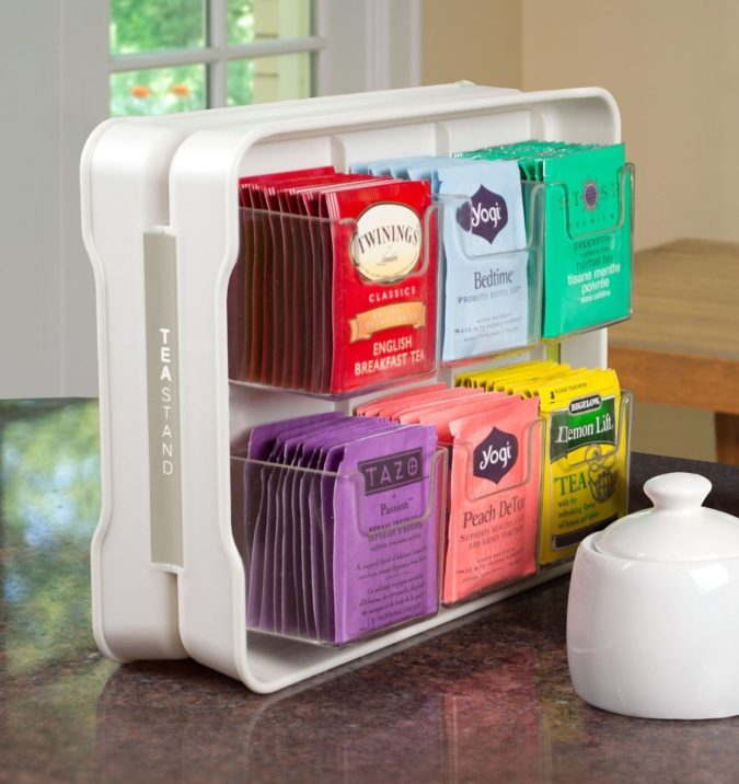 Using-tea-bag-organizer-675x716 100+ Smartest Storage Ideas for Small Kitchens in 2021