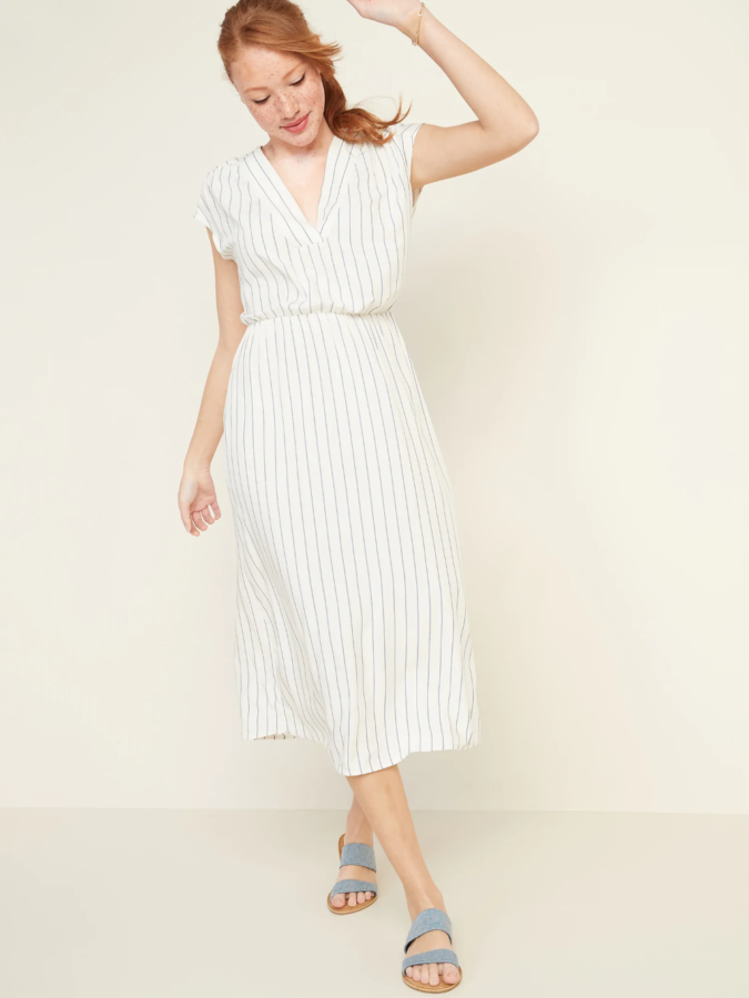 V-neck-midi-dress-675x900 140 First-Date Outfit Ideas That Make You Special