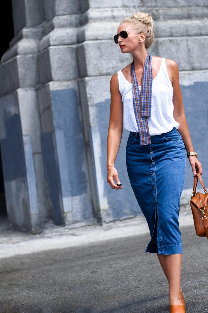 Denim-jean-skirt-675x1016 80+ Fabulous Outfits for Women Over 50