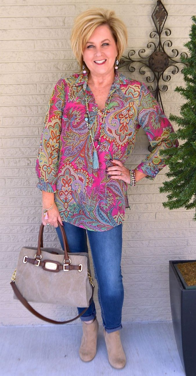 Long-sleeve-blouse.-1-675x1291 110+ Elegant Outfit Ideas for Women Over 60