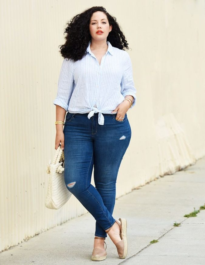 Pants-and-long-sleeve-shirt.-675x872 70+ Stylish Plus-Size Fashion Trends in 2021