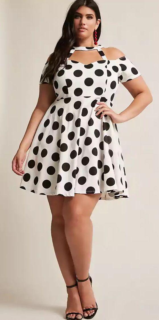Polka-dot-dress.-1 70+ Stylish Plus-Size Fashion Trends in 2021