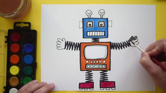 Robot-2-675x380 Top 10 Easiest Drawing Ideas for Kids
