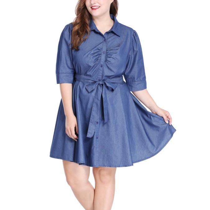 Waist-shirt-dress-1-675x675 70+ Stylish Plus-Size Fashion Trends in 2021
