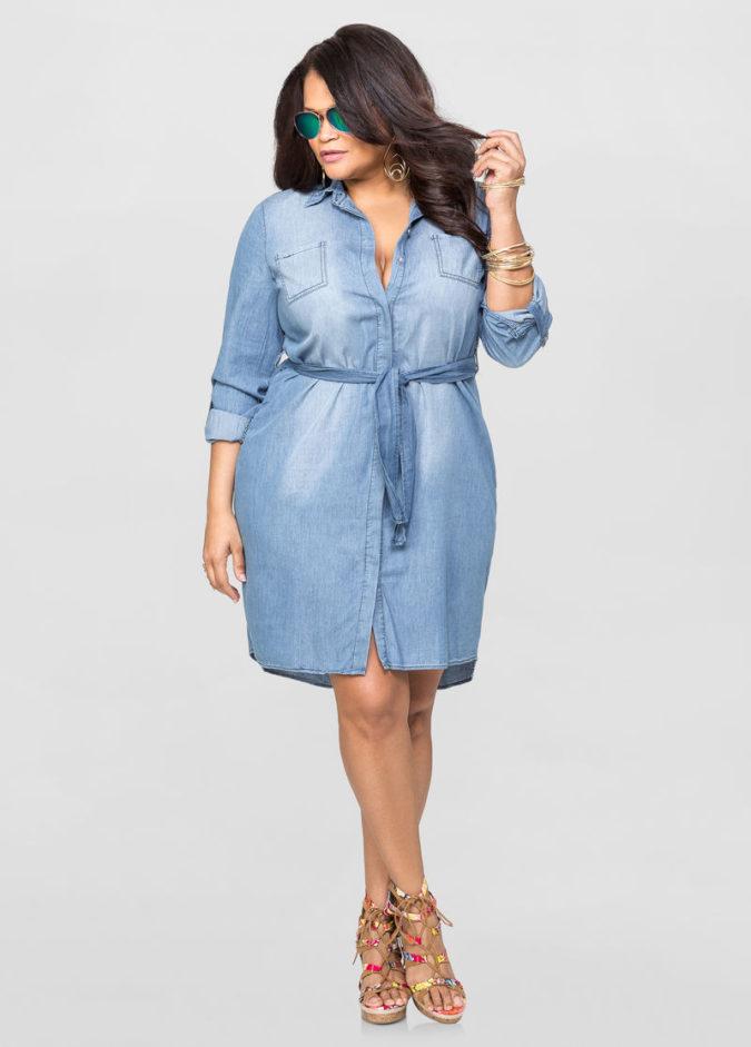 Waist-shirt-dress.-1-675x941 70+ Stylish Plus-Size Fashion Trends in 2021