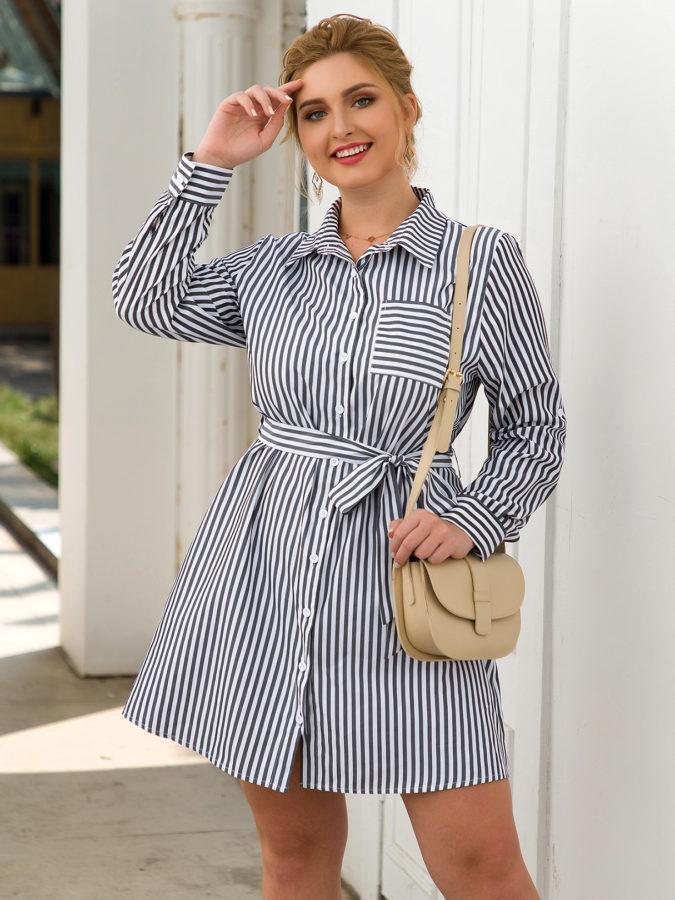 Waist-shirt-dress..-675x900 70+ Stylish Plus-Size Fashion Trends in 2021