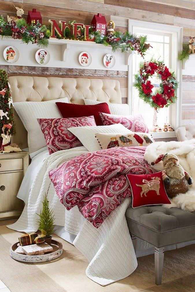 Red-and-White-Guest-Room.-675x1011 50+ Guest Room Christmas Decorations – Can You Make It Before Christmas Arriving?