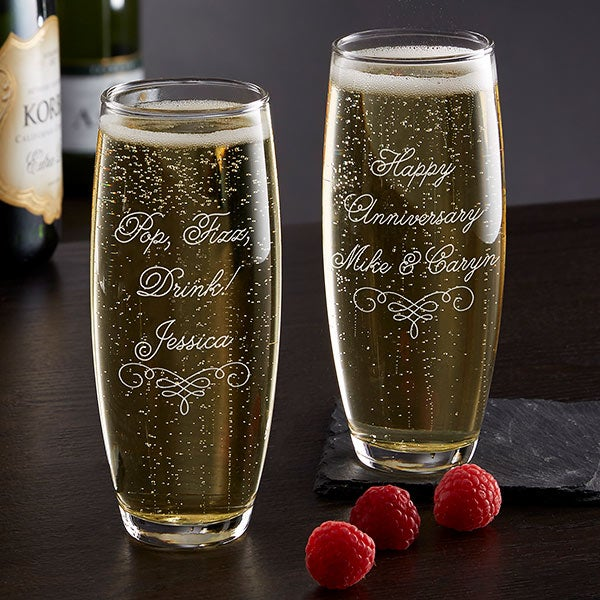 Customized-glass-of-champagne.-2 70+ Hottest Marriage Anniversary Decoration Ideas at Home