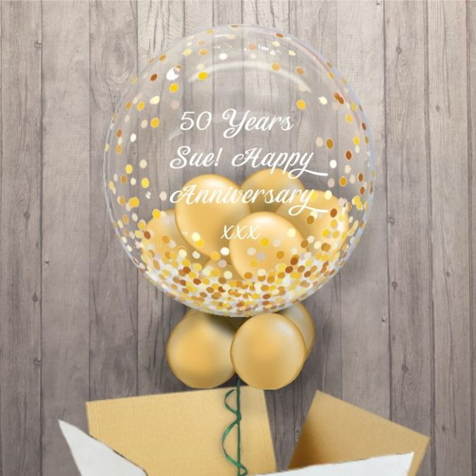Gold-Balloon-Bouquet...-675x675 70+ Hottest Marriage Anniversary Decoration Ideas at Home