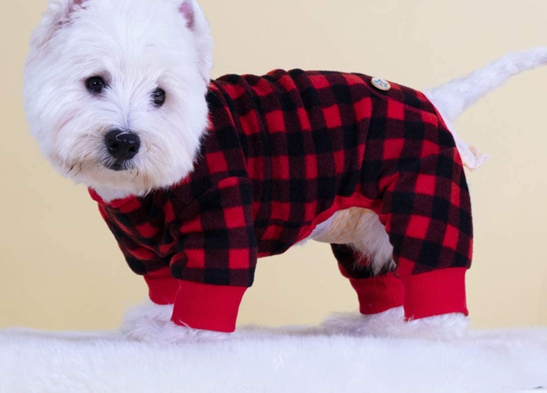 Kyeese-Dog-Pajamas-Plaid-for-Small-Dogs-Red-Buffalo-Check-Dog-Pajama-Onesie.. Cutest 10 Pajamas for Dogs on Amazon in 2021/2022
