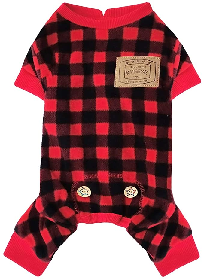 Kyeese-Dog-Pajamas-Plaid-for-Small-Dogs-Red-Buffalo-Check-Dog-Pajama-Onesie. Cutest 10 Pajamas for Dogs on Amazon in 2021/2022
