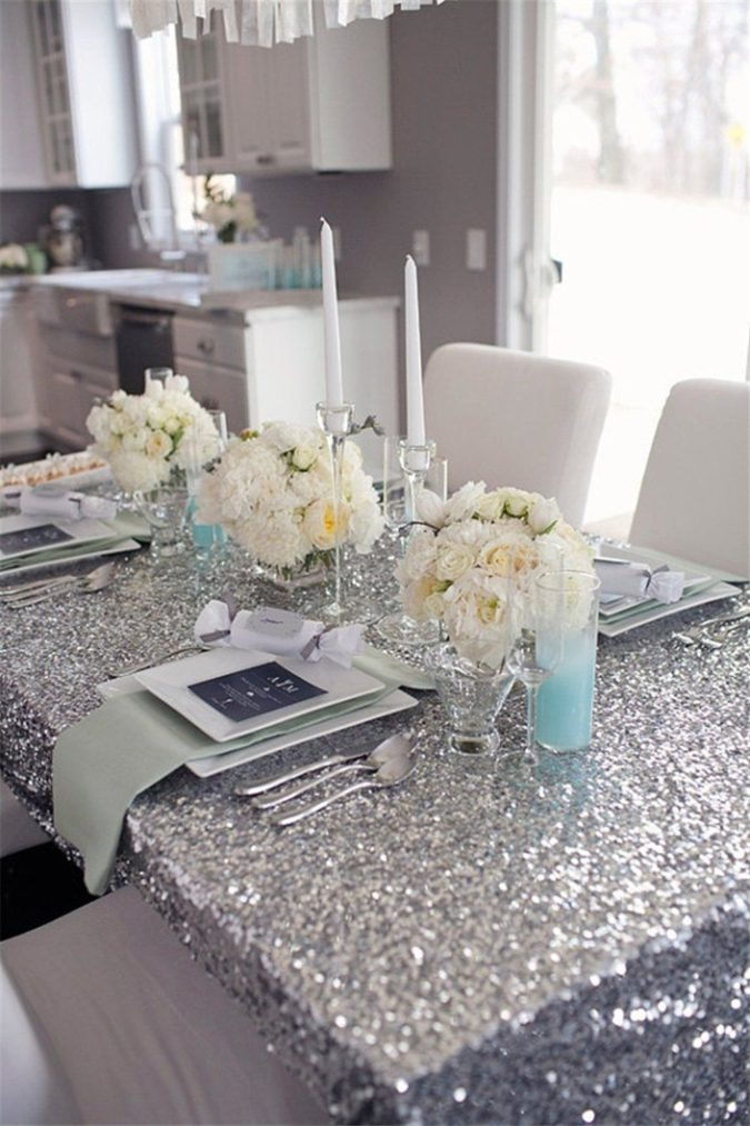 Silver-Glitter-party-table-675x1013 70+ Hottest Marriage Anniversary Decoration Ideas at Home