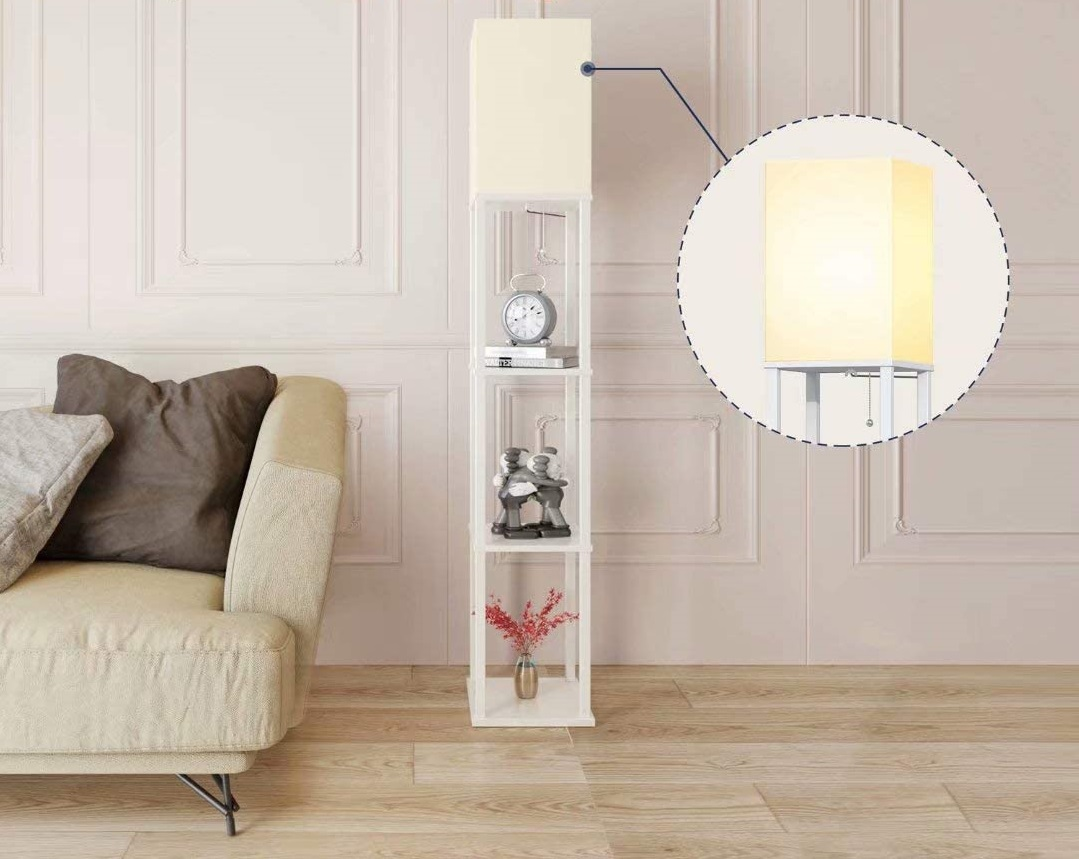 Add-LED-Modern-Shelf-Floor-Lamp-with-White-Lamp-Shade-1 10 Unique Floor Lamps to Brighten Your Living Room