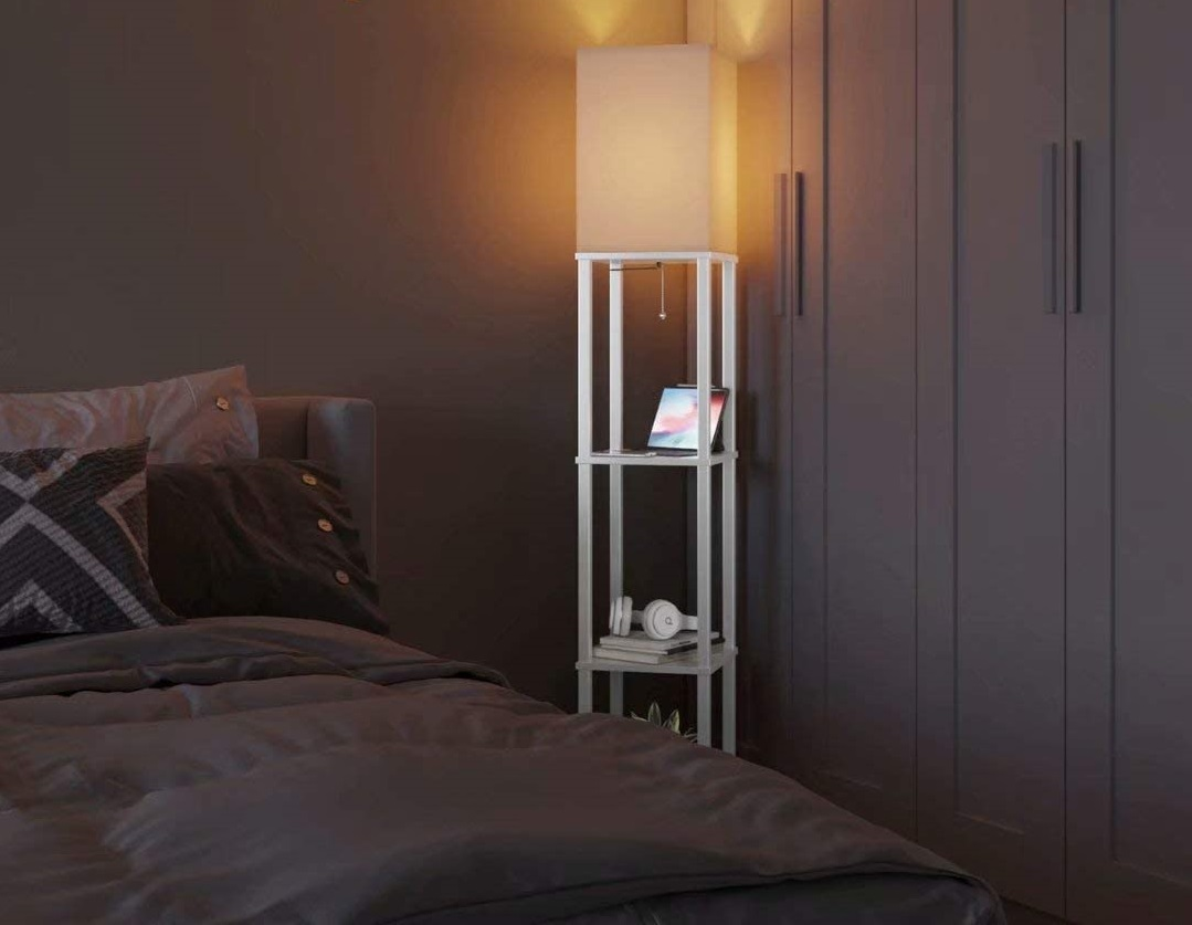 Add-LED-Modern-Shelf-Floor-Lamp-with-White-Lamp-Shade. 10 Unique Floor Lamps to Brighten Your Living Room
