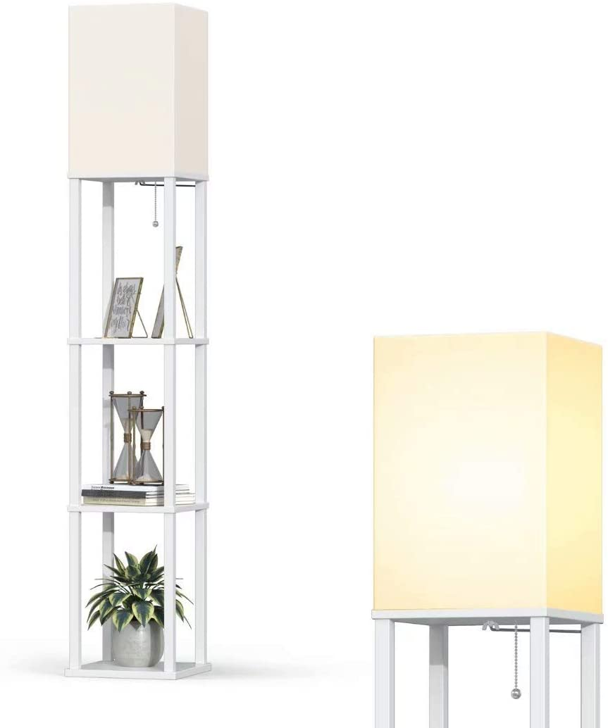 Add-LED-Modern-Shelf-Floor-Lamp-with-White-Lamp-Shade 10 Unique Floor Lamps to Brighten Your Living Room