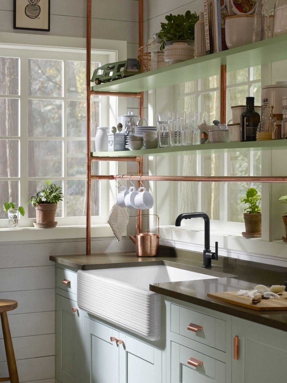 copper-pipes 80+ Unusual Kitchen Design Ideas for Small Spaces in 2021