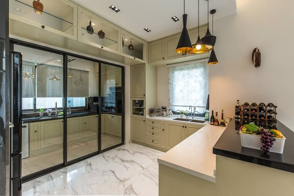 glass-doors-. 80+ Unusual Kitchen Design Ideas for Small Spaces in 2021