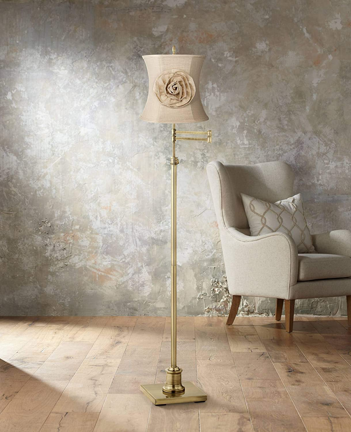 Almond-Linen-with-Flower-Lamp-Shade 10 Unique & Wonderful Lampshade Ideas