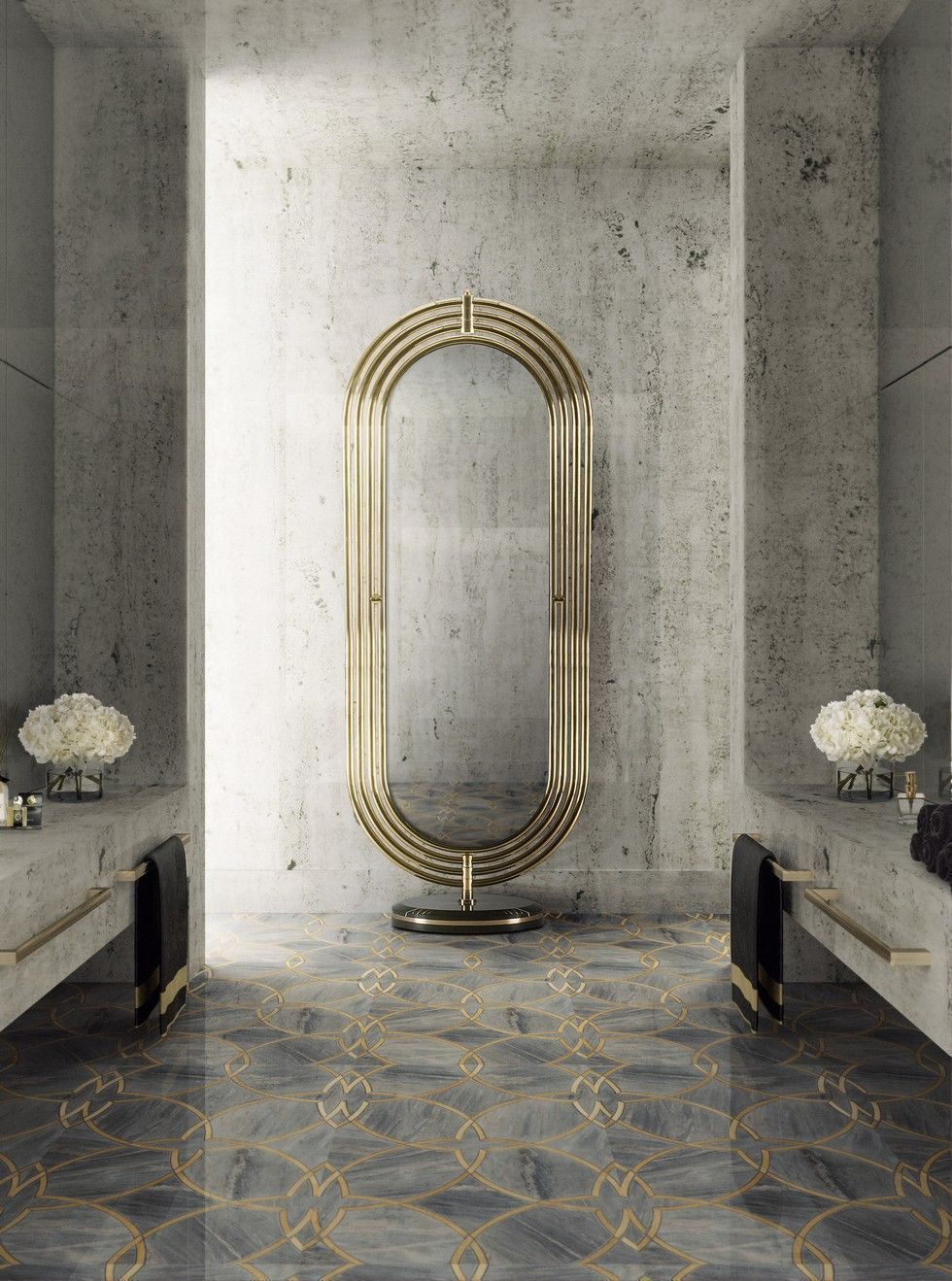 Metallic-Accents.-1 Best +60 Ideas to Enhance Your Bathroom's Luxuriousness