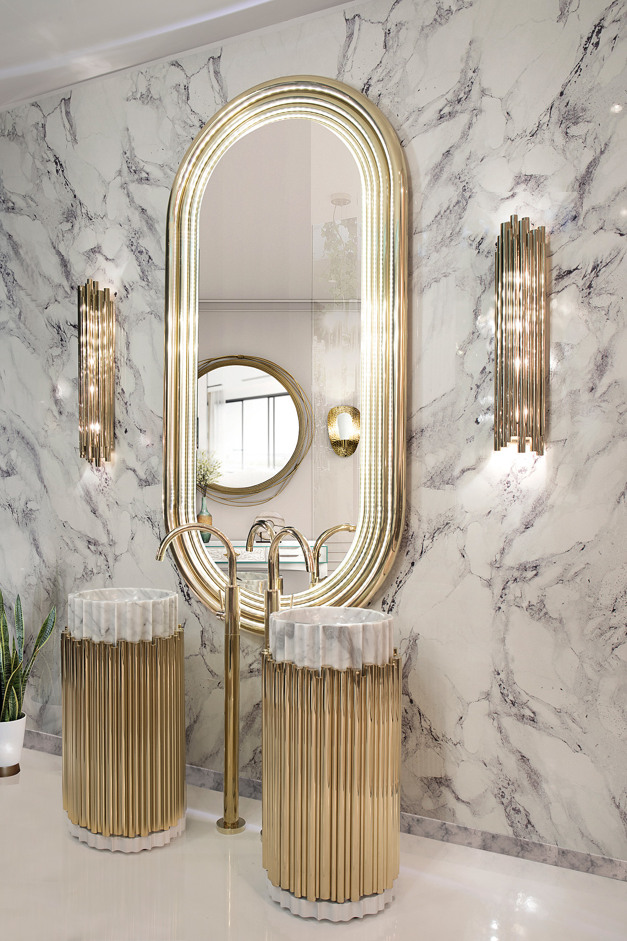 Metallic-Accents Best +60 Ideas to Enhance Your Bathroom's Luxuriousness