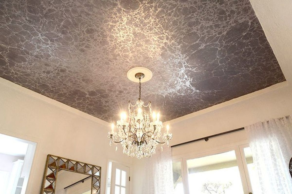 Modern-wallpaper-ceiling-2 +70 Unique Ceiling Design Ideas for Your Living Room