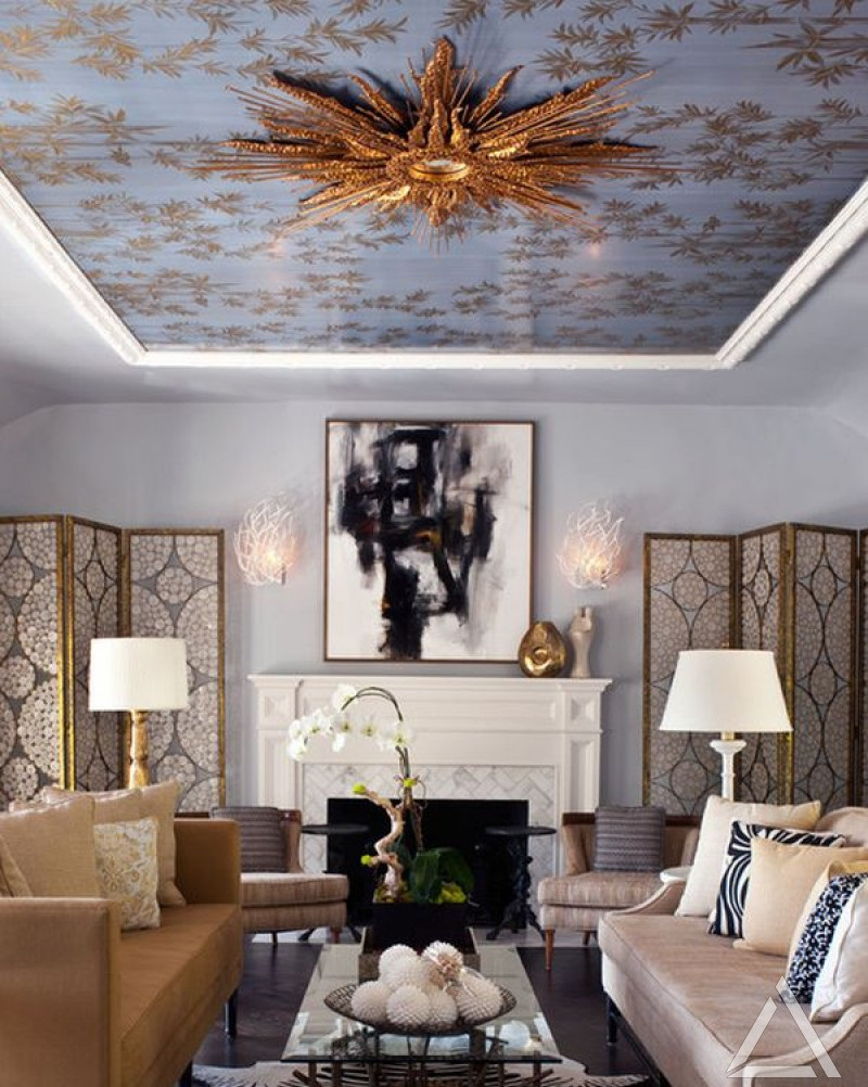 Modern-wallpaper-ceiling-4 +70 Unique Ceiling Design Ideas for Your Living Room