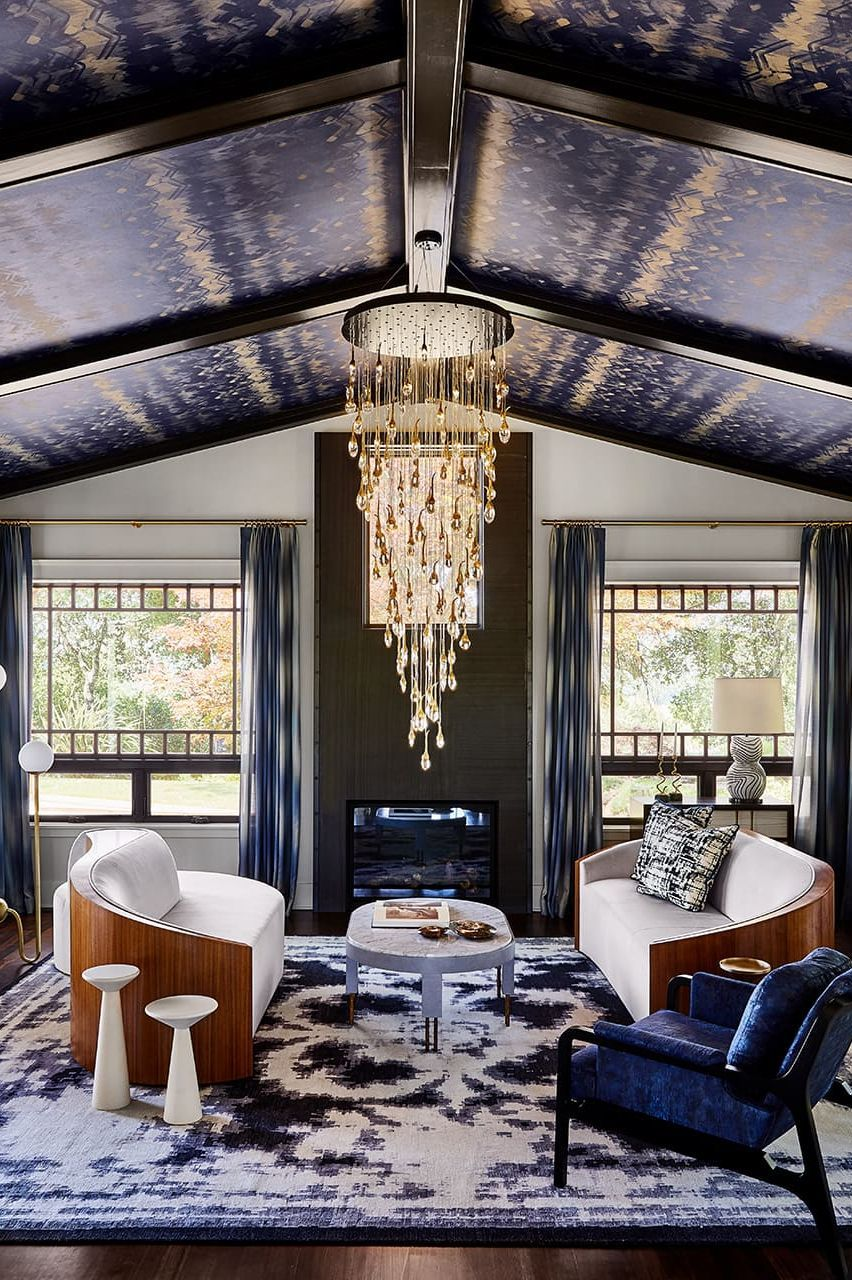 Modern-wallpaper-ceiling.. +70 Unique Ceiling Design Ideas for Your Living Room