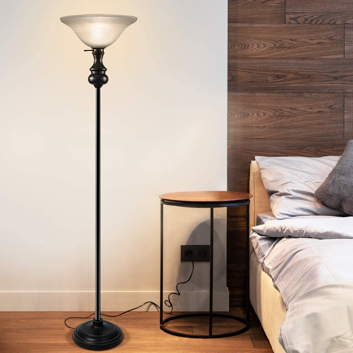 On-each-Modern-Shirley-Torchiere-Floor-Lamp-2 15 Unique Artistic Floor Lamps to Light Your Bedroom