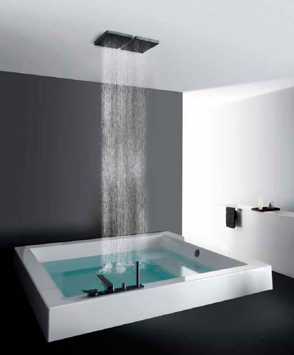 Rain-shower-and-tub-1 Best +60 Ideas to Enhance Your Bathroom's Luxuriousness