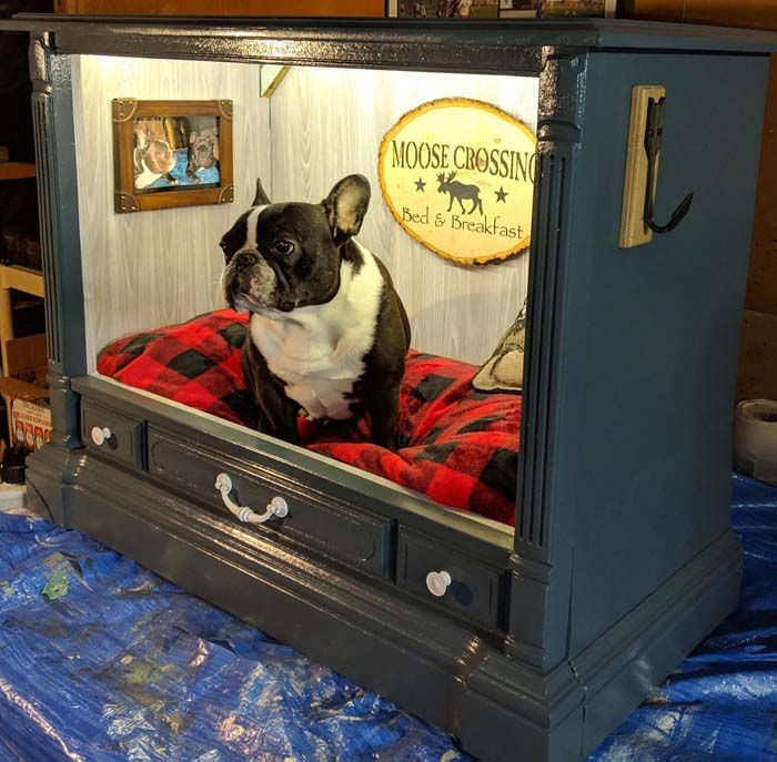 TV-cabinet-Dog-Bed-Design +80 Adorable Dog Bed Designs That Will Surprise You