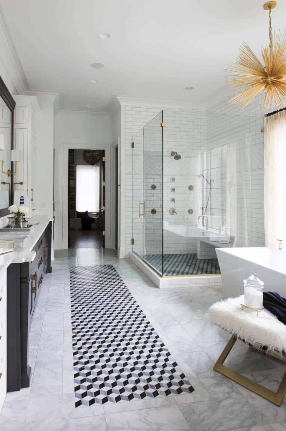 Tile-rug..-1 Best +60 Ideas to Enhance Your Bathroom's Luxuriousness