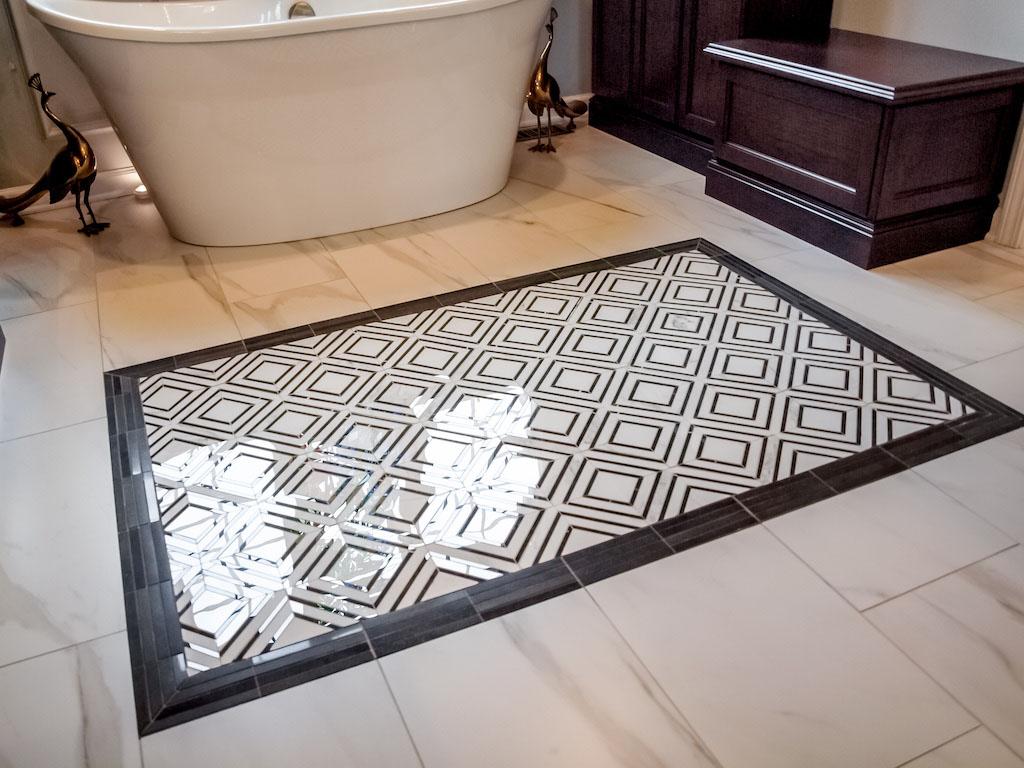 Tile-rug.... Best +60 Ideas to Enhance Your Bathroom's Luxuriousness
