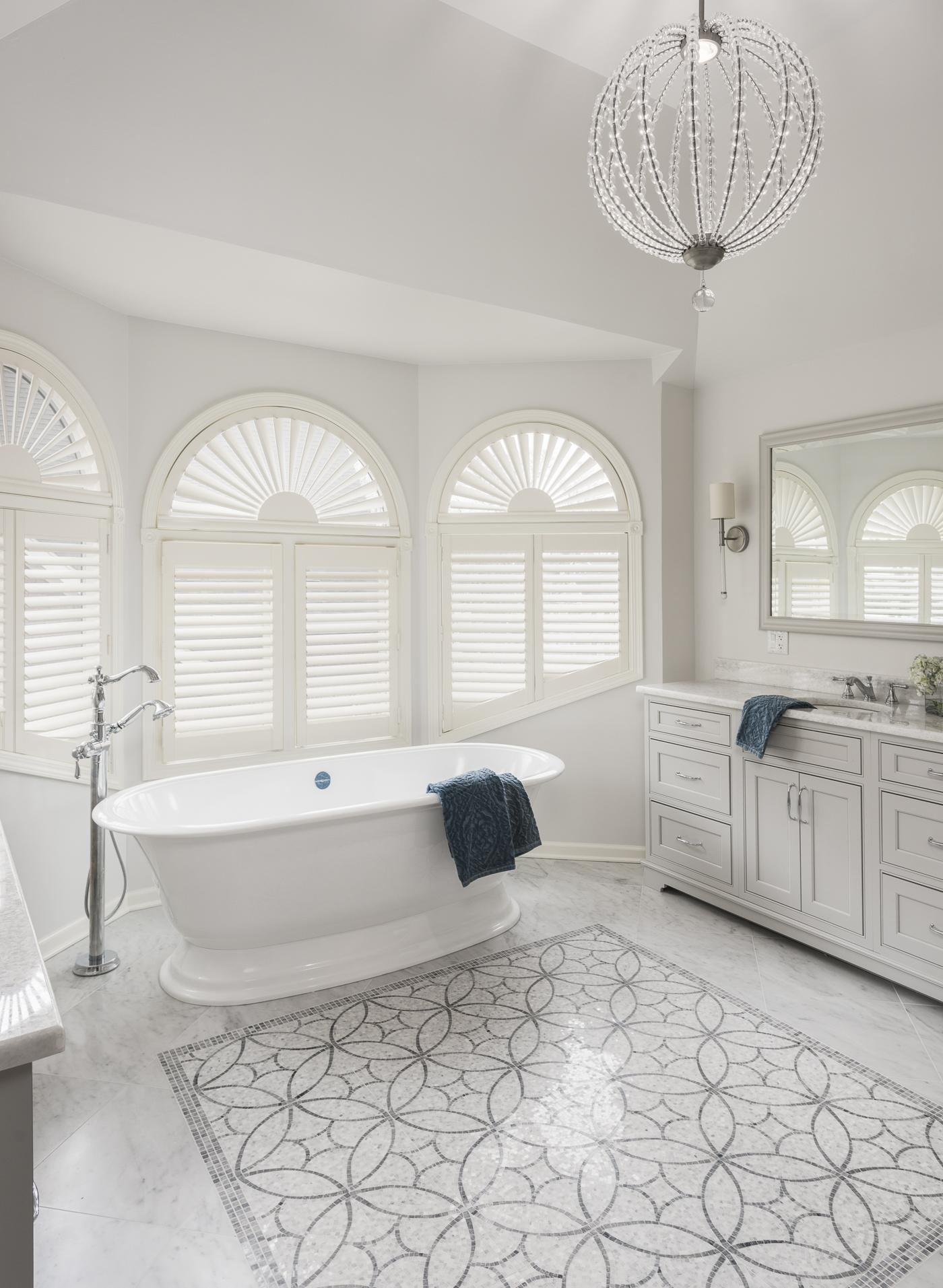 Tile-rug.. Best +60 Ideas to Enhance Your Bathroom's Luxuriousness