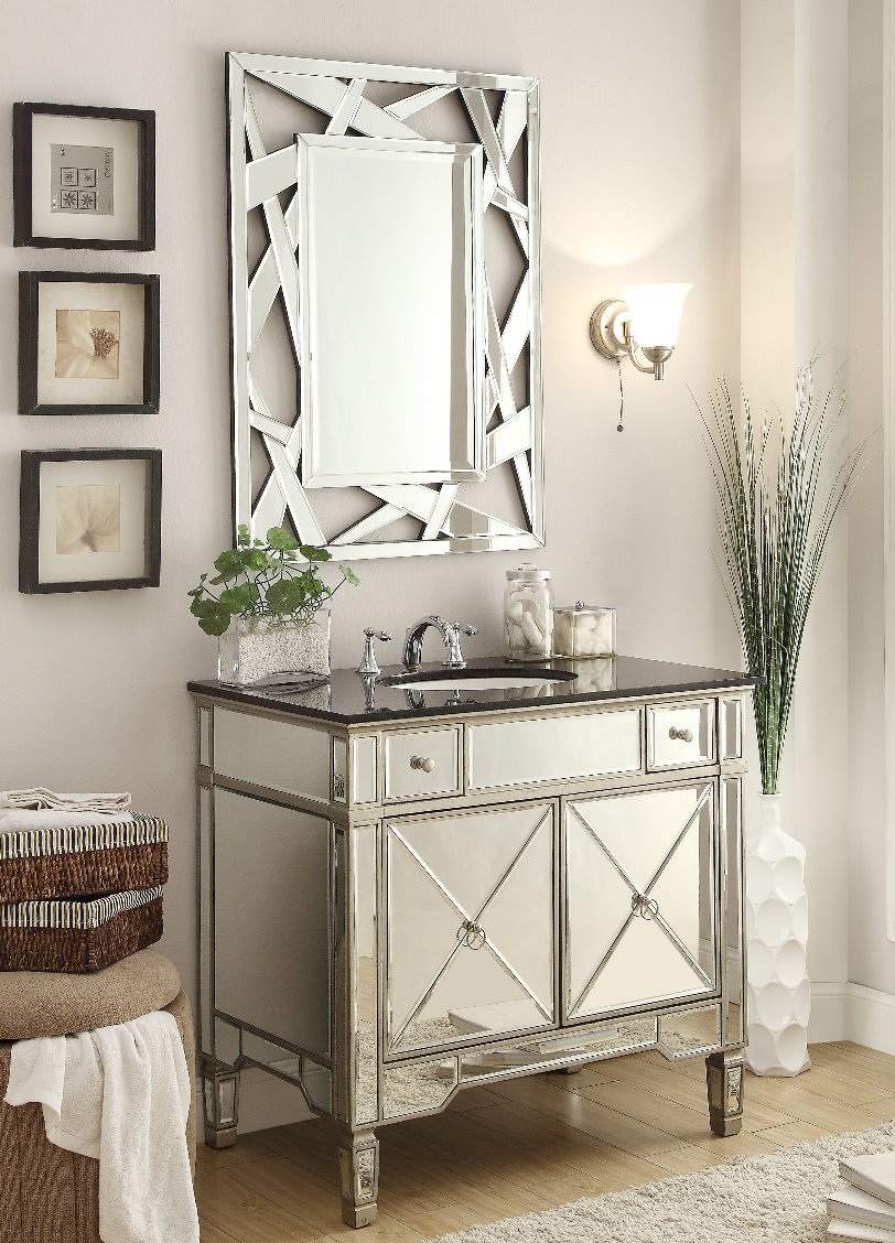 mirrored-vanity. Best +60 Ideas to Enhance Your Bathroom's Luxuriousness