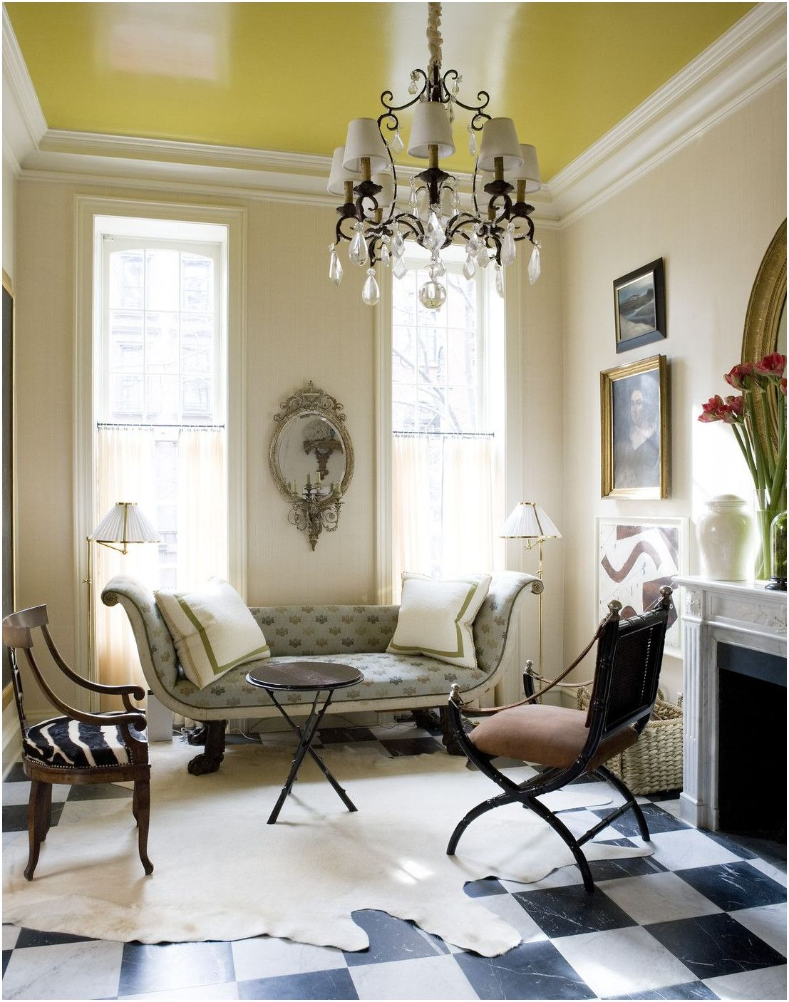 painted-ceiling. +70 Unique Ceiling Design Ideas for Your Living Room