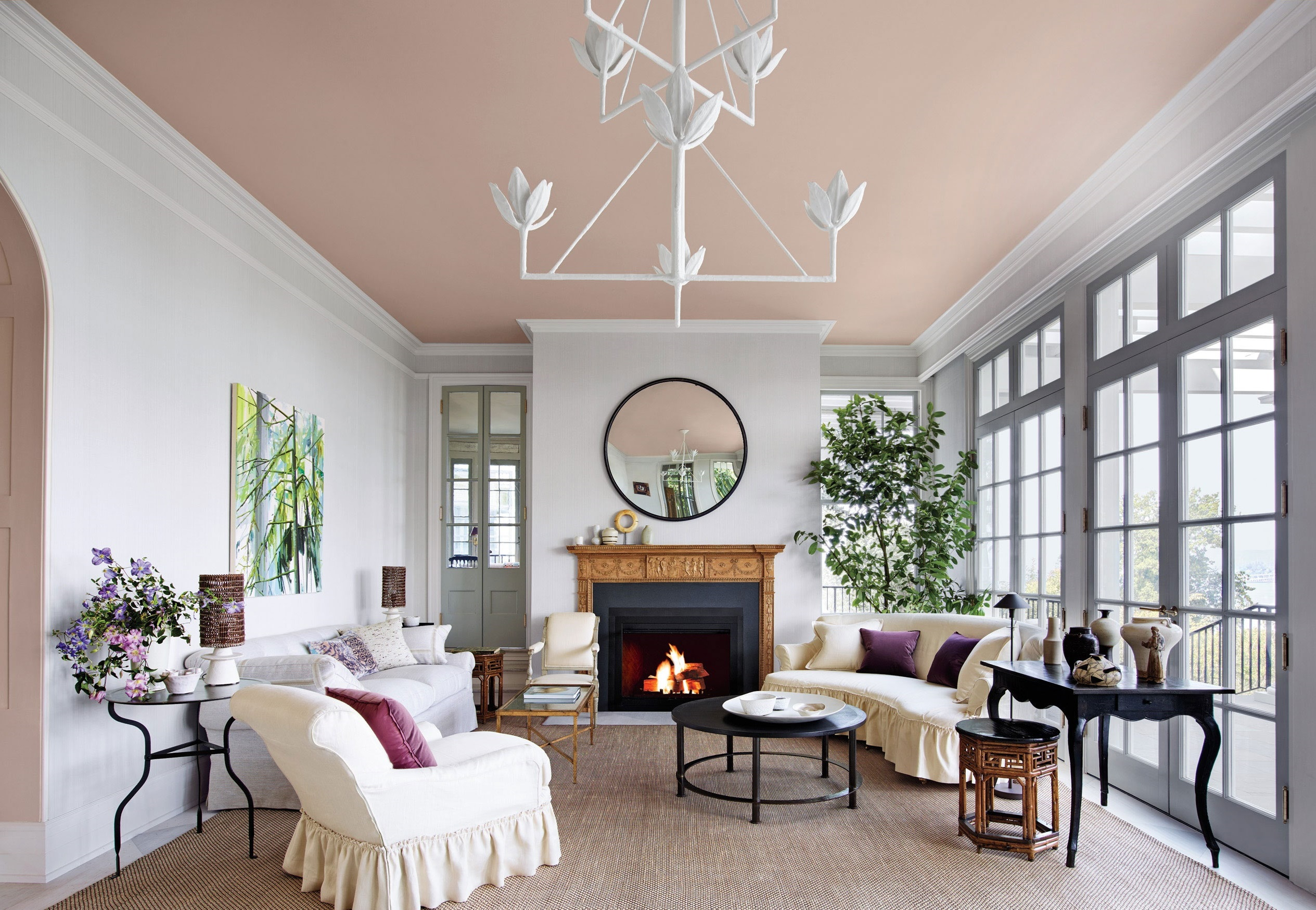 painted-ceiling +70 Unique Ceiling Design Ideas for Your Living Room